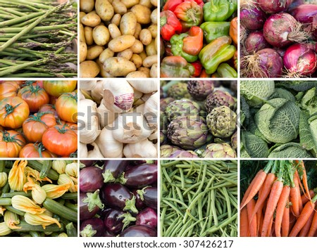 Collage of fresh vegetables: asparagus, potatoes, paprika, onion, tomatoes, garlic, artichokes, cabbage, zucchini, eggplant, green beans and carrots - stock photo