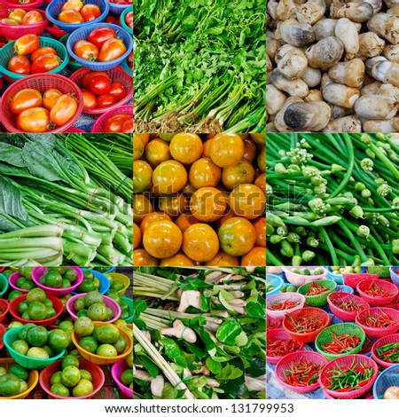 Collage of fruits and vegetables in fresh market - stock photo