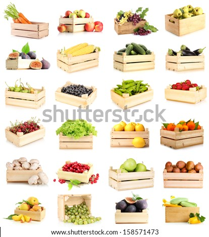 Collage of fruits and vegetables in wooden boxes isolated on white - stock photo