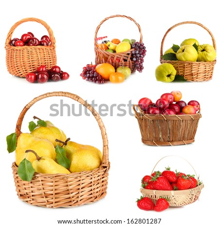 Collage of fruits in wicker basket isolated on white - stock photo