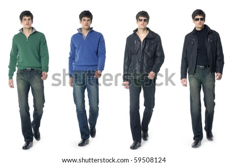 Collage of Full length portrait of a casual young man - stock photo