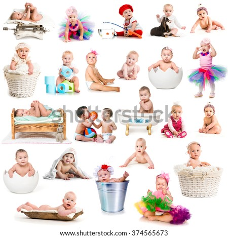 collage of funny babies with decorations - stock photo