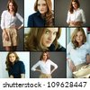 Collage of gorgeous woman in smart casual - stock photo