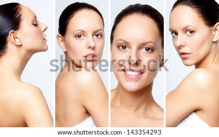 Collage of gorgeous woman posing for camera - stock photo