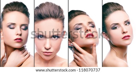 Collage of gorgeous woman with perfect makeup - stock photo