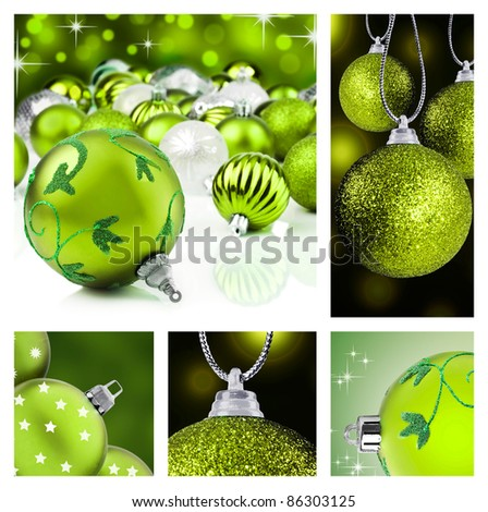Collage of green christmas decorations on different backgrounds - stock photo