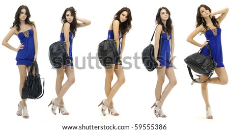 Collage of group of a young beautiful woman with modern bag. Posing in the studio, - stock photo