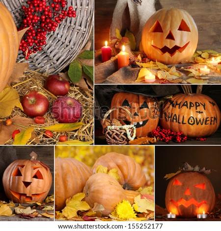 Collage of Halloween - stock photo