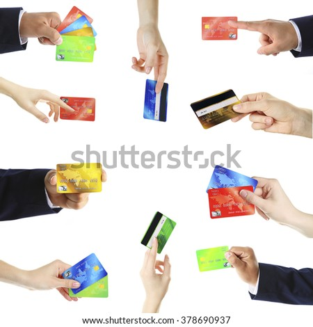 Collage of hands holding credit cards, isolated on white - stock photo