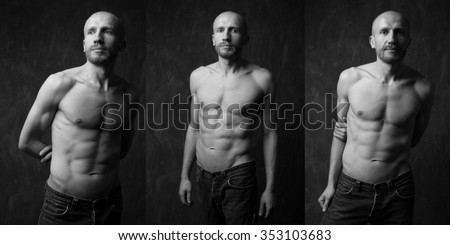 Collage of handsome and  Muscular man with strong press on dark background. Handsome man with strong press. Model posing in studio on dark background. Black and white image - stock photo