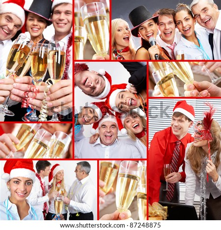 Collage of happy business people celebrating New Year in office - stock photo