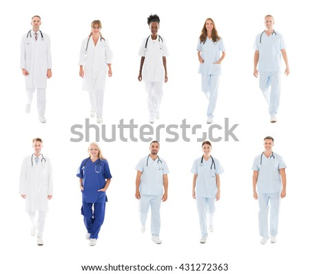 Collage Of Happy Confident Doctors With Medical Workers Walking Against White Background - stock photo