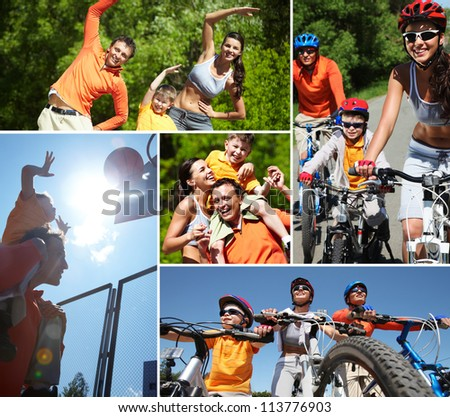 Collage of happy family at leisure in summer - stock photo