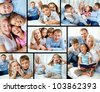 Collage of happy family resting at home - stock photo