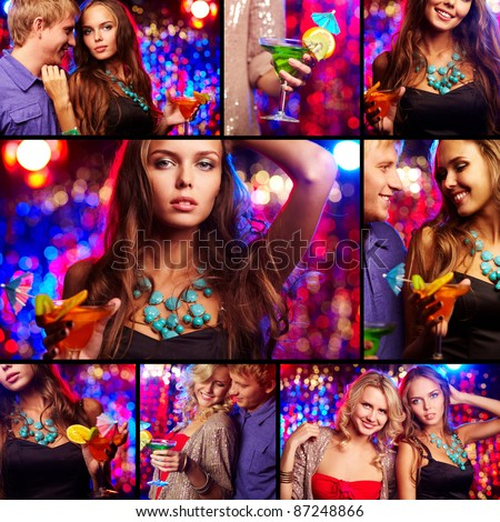 Collage of happy friends having party in night club - stock photo