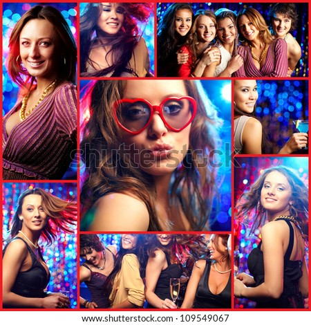 Collage of happy girls at hen party in the club - stock photo