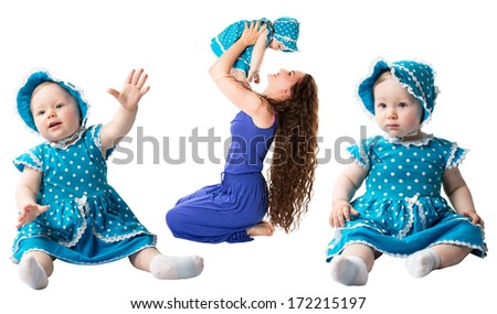 Collage of happy mom and child girl hugging isolate on white background. The concept of childhood and family. Beautiful Mother and her baby - stock photo