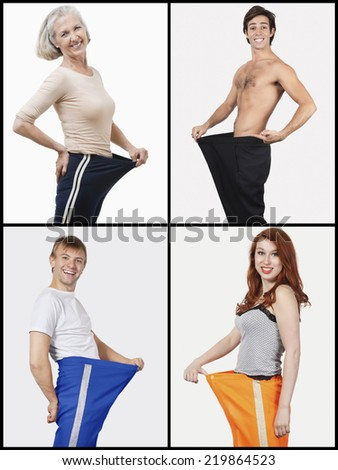 Collage of happy people holding oversized pants - stock photo