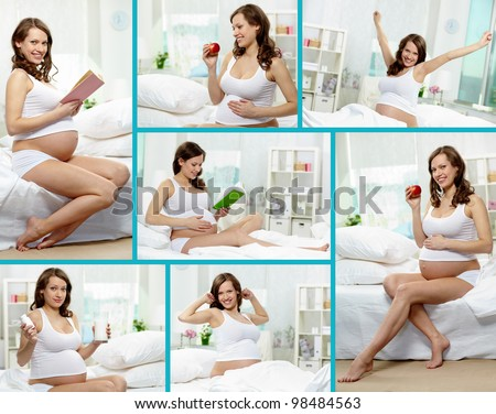 Collage of happy pregnant woman having rest at home - stock photo