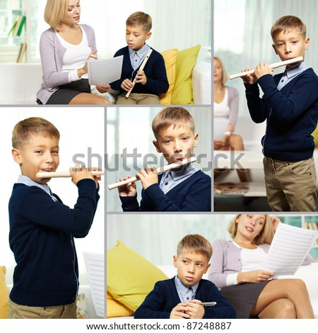 Collage of happy pupil playing the flute and his charming tutor - stock photo