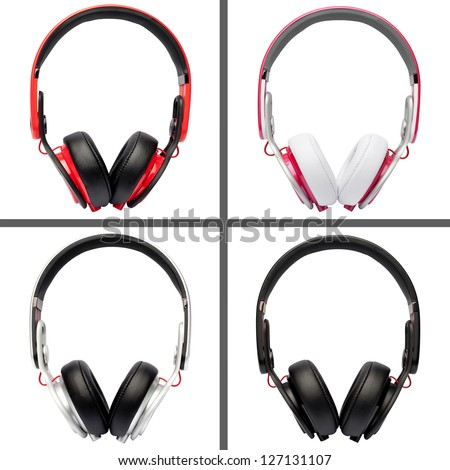Collage of headphones different colors - stock photo