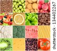 Collage of healthy food backgrounds - stock photo