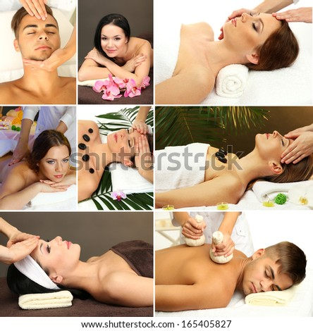 Collage of healthy massage and spa - stock photo