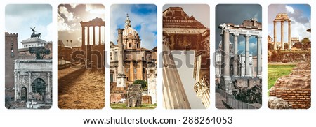collage of historical views of the Roman Forum,  Italy - stock photo