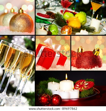 Collage of holiday objects on Christmas table - stock photo