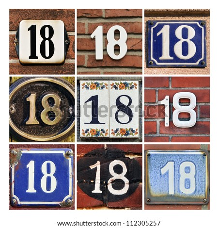 Collage of House Numbers Eighteen - stock photo