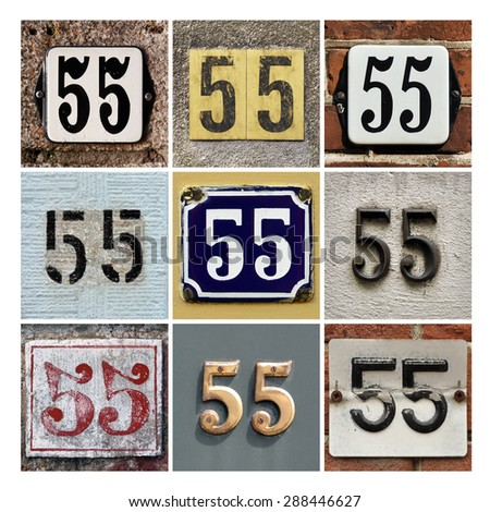 Collage of House Numbers Fifty-five - stock photo