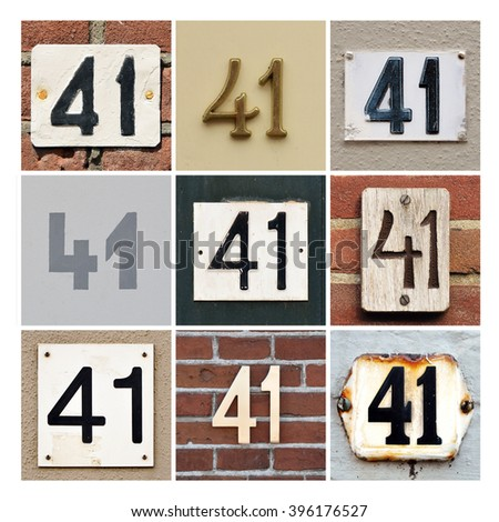 Collage of House Numbers Forty-one - stock photo