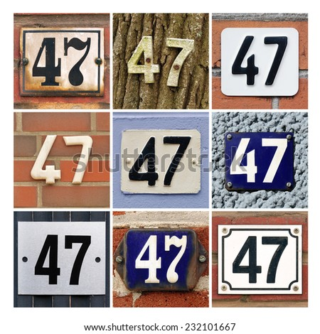 Collage of House Numbers Forty-seven - stock photo