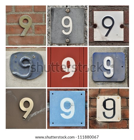 Collage of House Numbers Nine - stock photo