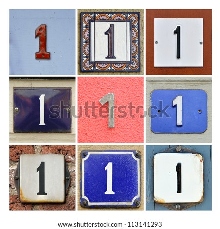 Collage of House Numbers One - stock photo