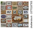 Collage of House numbers 100 plus - stock photo