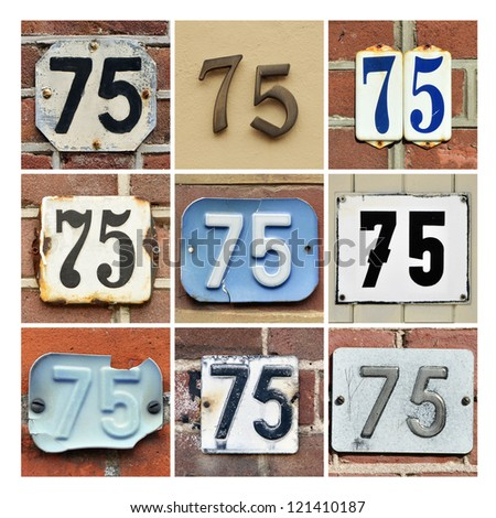 Collage of House Numbers Seventy-five - stock photo