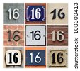 Collage of House Numbers Sixteen - stock photo