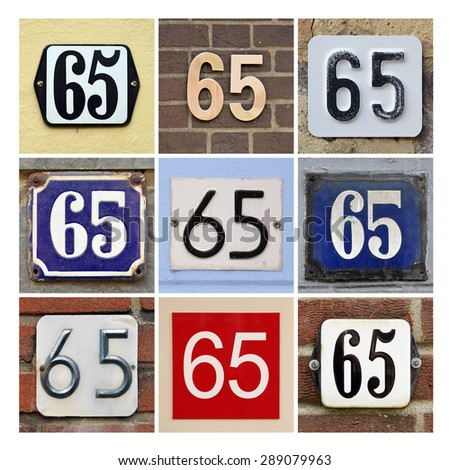 Collage of House Numbers Sixty-five - stock photo