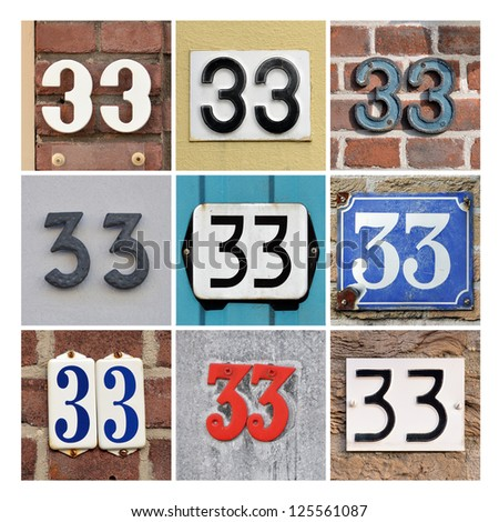 Collage of House Numbers Thirty-three - stock photo