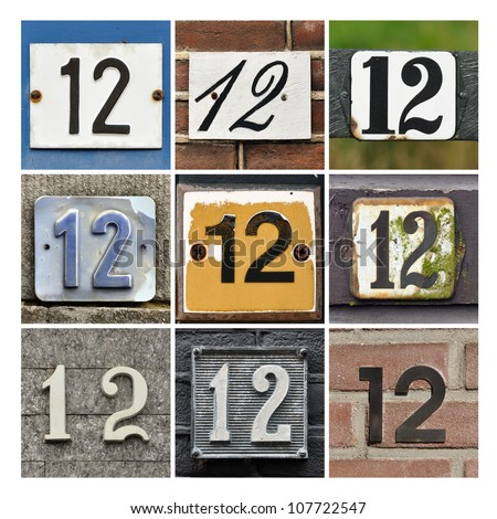 Collage of House Numbers Twelve - stock photo
