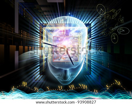 Collage of human head, clock and various abstract elements on the subject of time, modern technology human and artificial mind - stock photo