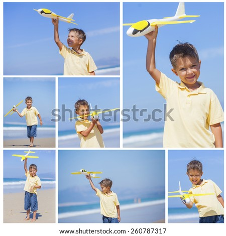 Collage of images beach kid boy kite flying outdoor coast ocean - stock photo