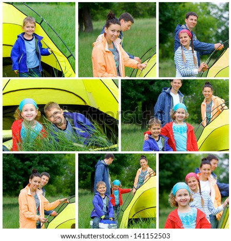 Collage of images family with kids near tent in camping on the nature. - stock photo