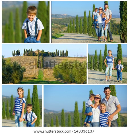 Collage of images happy family having fun on vacations in Tuscan against cypress alley background - stock photo