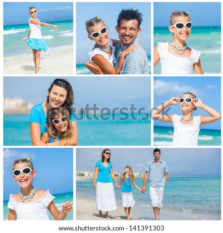 Collage of images happy family walking on the beach with little daughter - stock photo