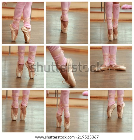 Collage of images of pointes in ballet class - stock photo