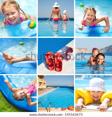 Collage of images on the theme of children's activities and swimming in the water at the resort - stock photo