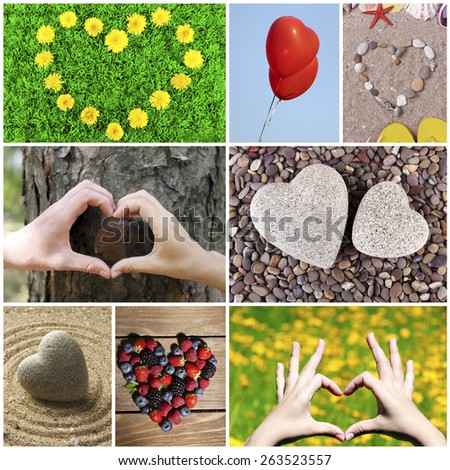 Collage of images with different hearts - stock photo