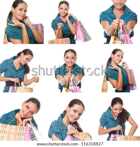 collage of images young  shoppers woman holding and looks in the bag for shopping - stock photo